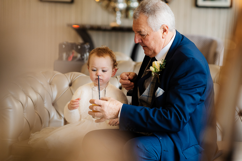 father of the bride and flower girl