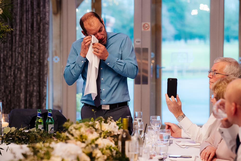 best man crying during speech