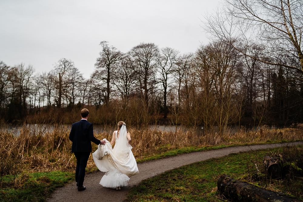 bride and groom at poynton pool
